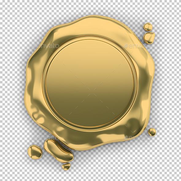 Golden Seal Wax - Objects 3D Renders