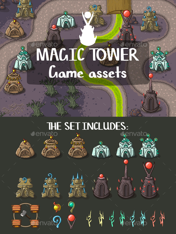 Magic Tower Game Objects - Miscellaneous Game Assets