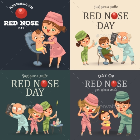 Set Red Nose Day Doctor Greeting Card - Health/Medicine Conceptual
