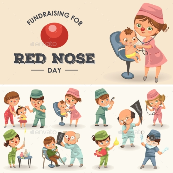 Set Red Nose Day Greeting Card, Medical Doctor - Health/Medicine Conceptual