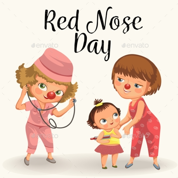 Happy Red Nose Day, Mother Brought Her Daughter - People Characters