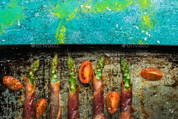 Grilled asparagus with prosciutto ham - Stock Photo - Images