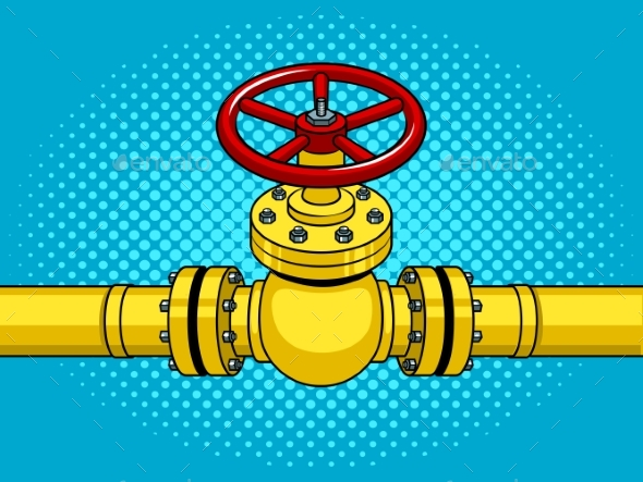 Yellow Gas Pipe with Red Valve Pop Art Vector - Industries Business