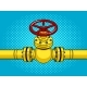 Yellow Gas Pipe with Red Valve Pop Art Vector - GraphicRiver Item for Sale