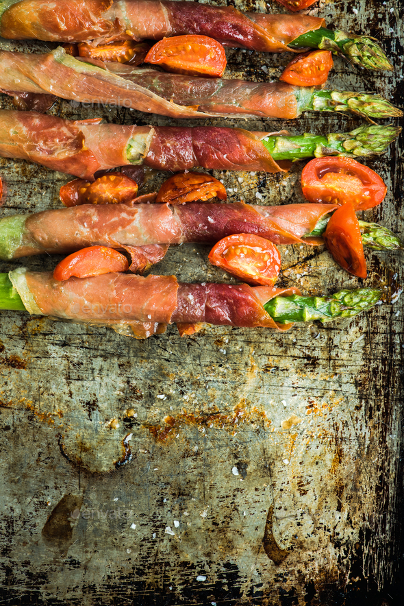 Grilled asparagus and prosciutto ham - Stock Photo - Images