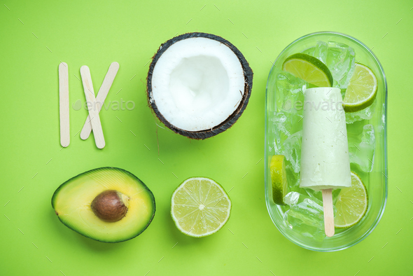 Avocado,coconut and lime popsicles - Stock Photo - Images