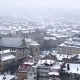 Snow Storm in Old Europe City. Heavy Snow Falling in the Middle of Winter. - VideoHive Item for Sale
