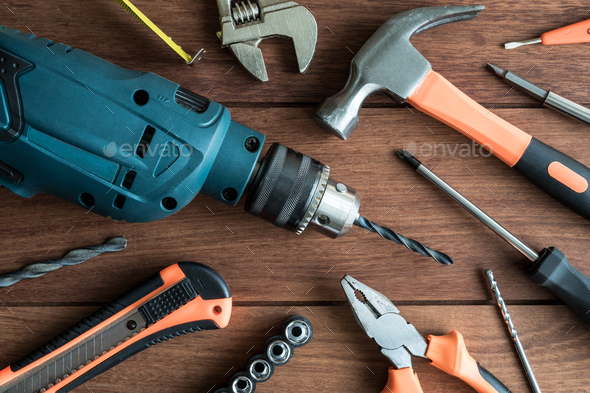 Set of work tools on wooden background - Stock Photo - Images