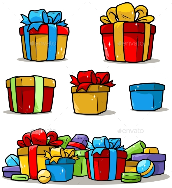 Cartoon Colored Presents and Different Gift Boxes - Objects Vectors