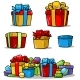 Cartoon Colored Presents and Different Gift Boxes - GraphicRiver Item for Sale
