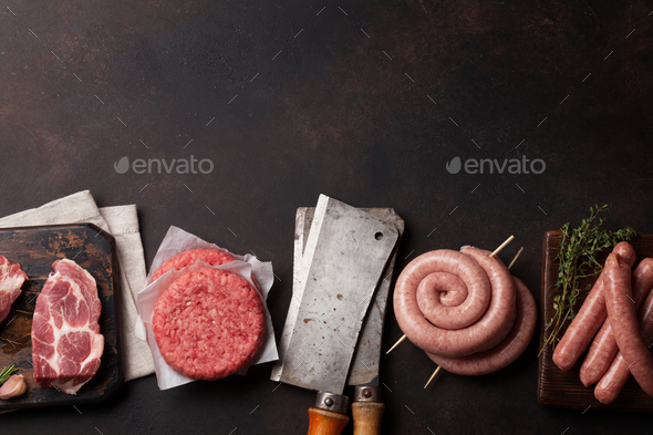 Raw meat and sausages - Stock Photo - Images