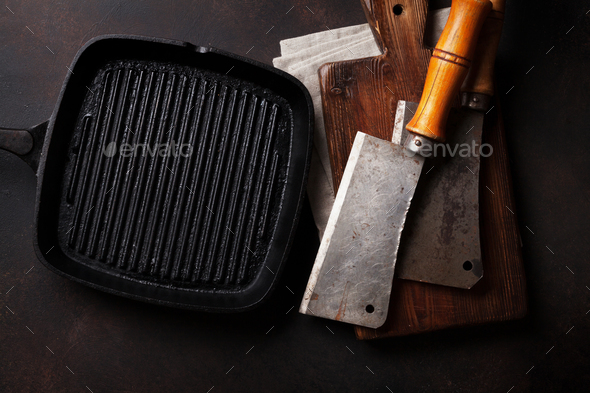 Butcher. Vintage meat knives and frying pan - Stock Photo - Images