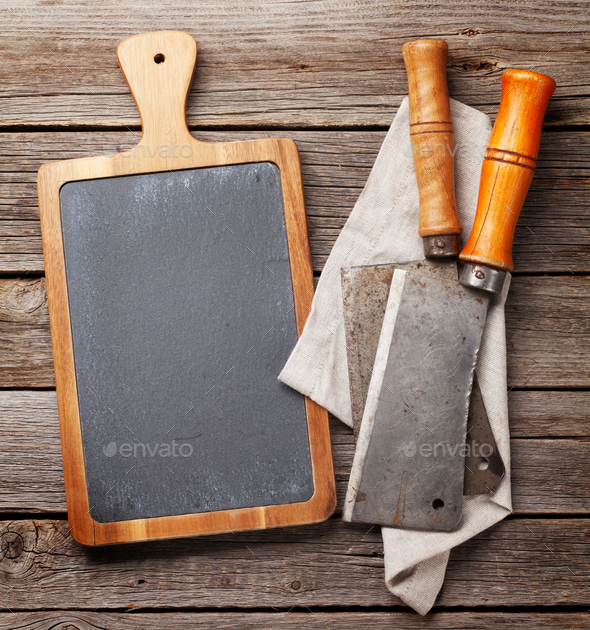 Butcher. Vintage meat knives and blackboard - Stock Photo - Images