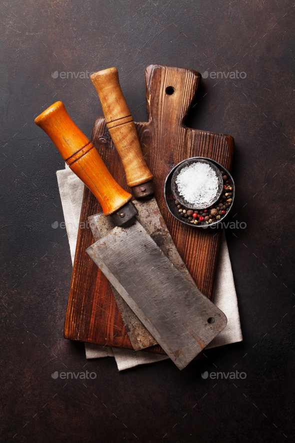 Butcher. Vintage meat knives and spices - Stock Photo - Images