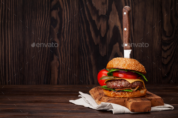 Tasty grilled home made burger - Stock Photo - Images