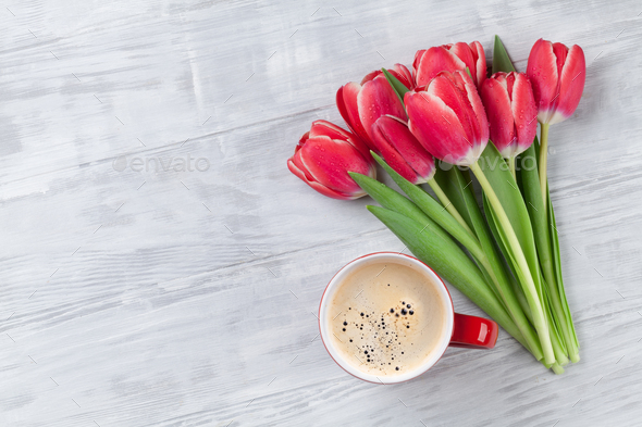 Red tulip flowers bouquet - Stock Photo - Images