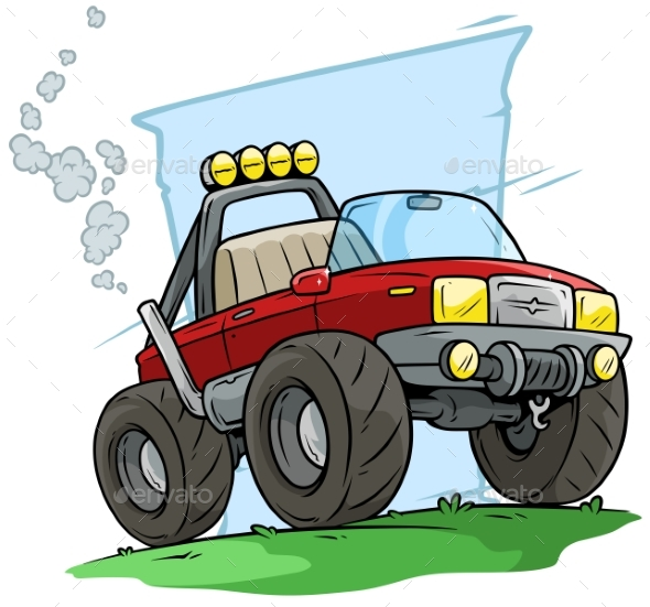 Cartoon Red Off Road Monster Truck - Objects Vectors