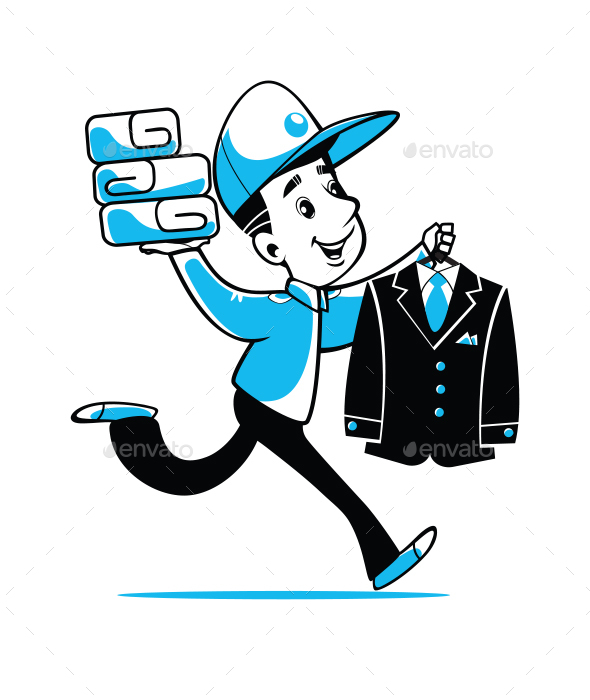 Delivery of Laundry (Dry Cleaning). Fast Courier. Vector. - People Characters