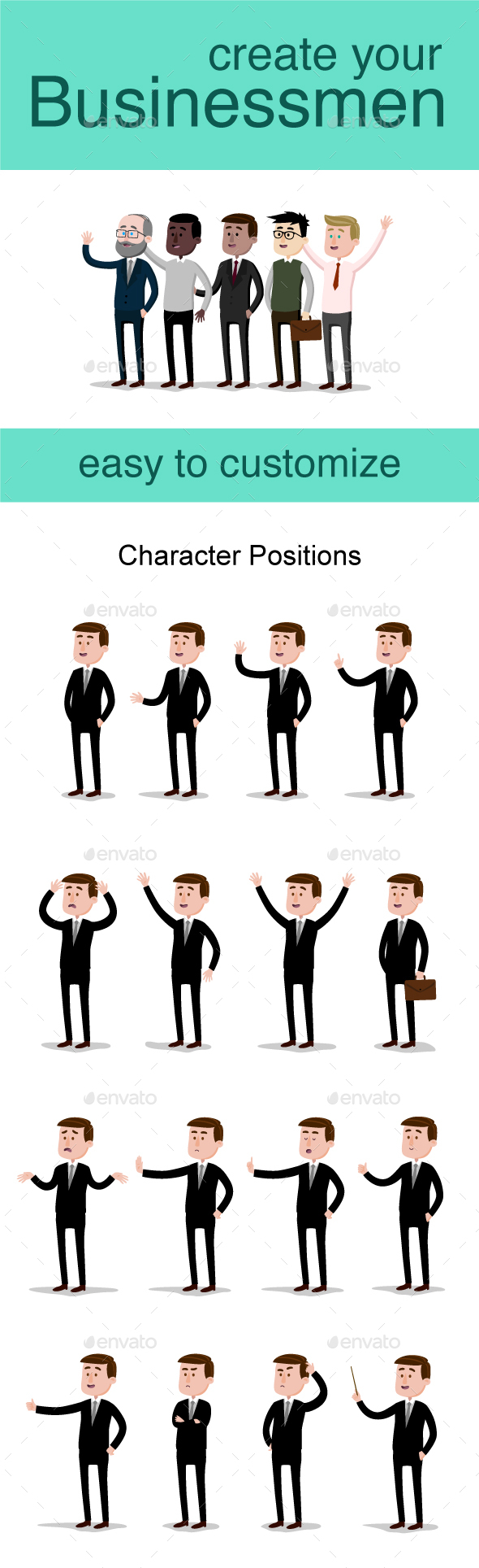 Businessman Character Pack - People Characters