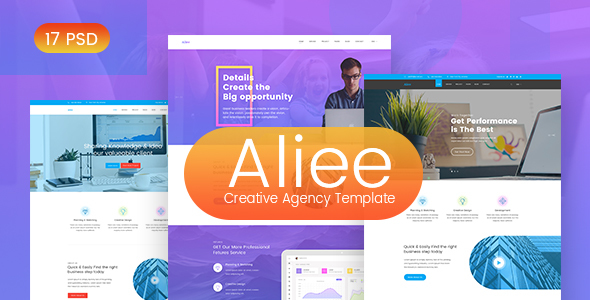 Aliee - Creative Agency PSD Template - PSD Templates