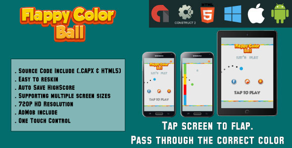 Flappy Color Ball - HTML5 Game - Mobile - (.CAPX & HTML) - CodeCanyon Item for Sale