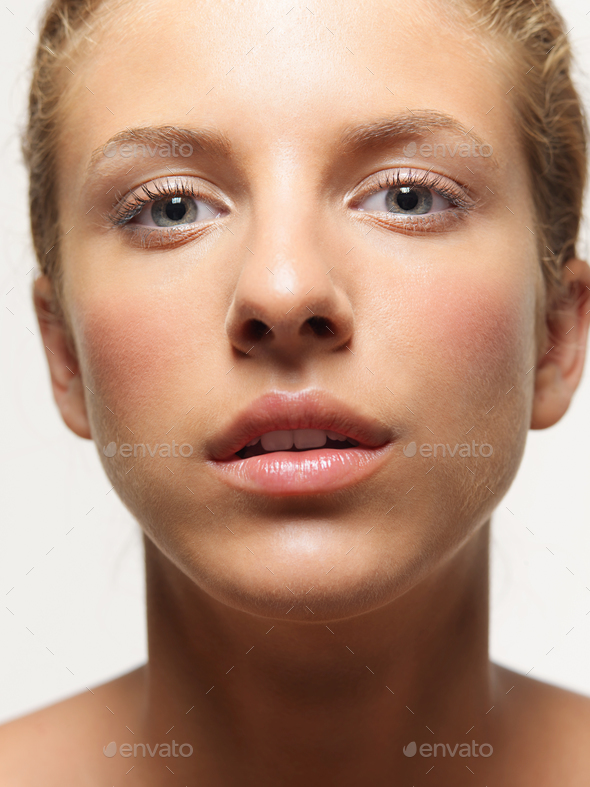 closeup, beauty portrait of young, beautiful woman - Stock Photo - Images