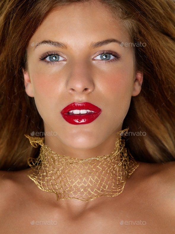 closeup beauty portrait woman with golden jewels - Stock Photo - Images