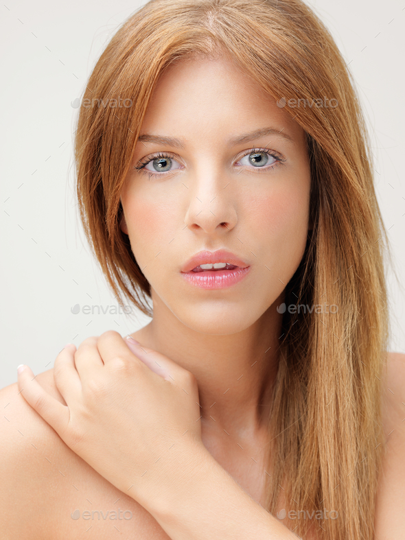 closeup portrait beautiful woman hand shoulder - Stock Photo - Images