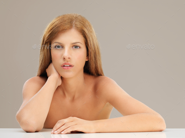 beauty portrait blonde woman looking at camera - Stock Photo - Images