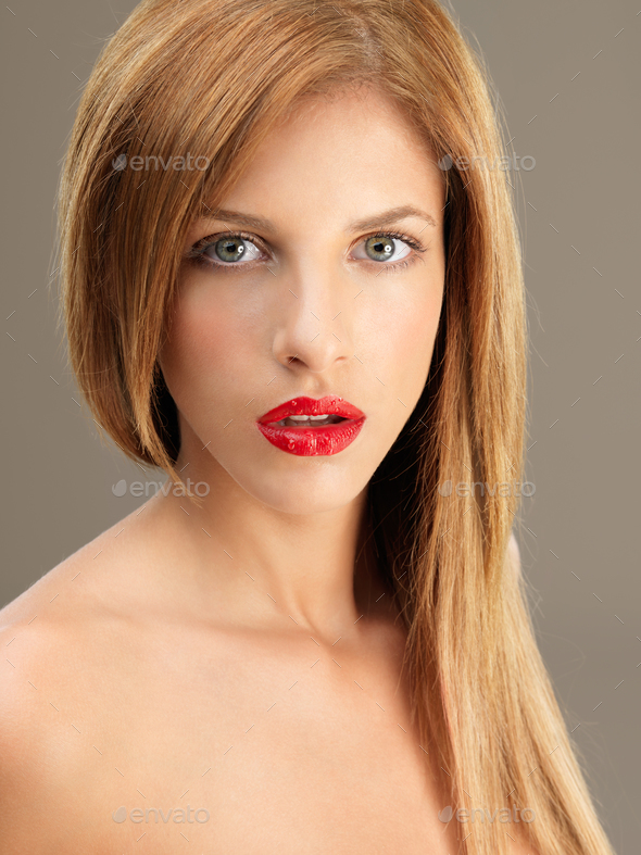 head and shoulders beauty portrait blonde woman - Stock Photo - Images