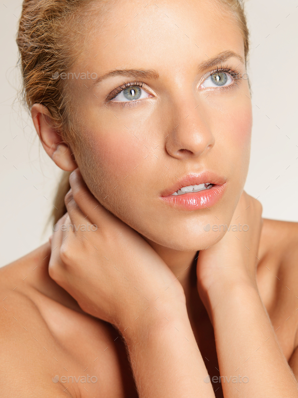 closeup beauty portrait of young, blonde woman - Stock Photo - Images