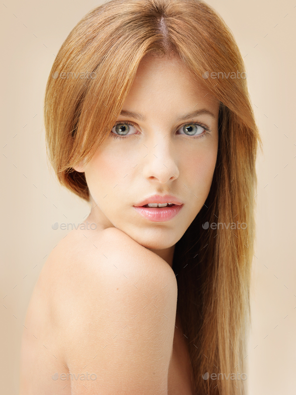 head and shoulders portrait of beautiful woman - Stock Photo - Images