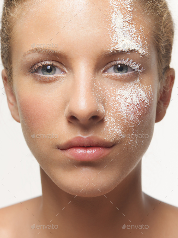 beauty portrait woman white powder on face - Stock Photo - Images