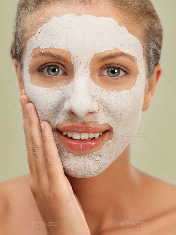 closeup beauty portrait woman with facial mask - Stock Photo - Images