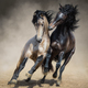 Red-gray Spanish stallion play with dun Spanish stallion - PhotoDune Item for Sale