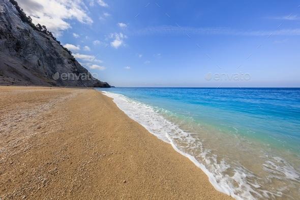 Egremni beach at Lefkada, Ionion sea, Greece - Stock Photo - Images