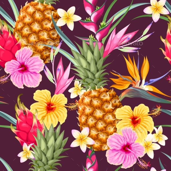 Seamless Pattern with Pineapple Fruits - Food Objects