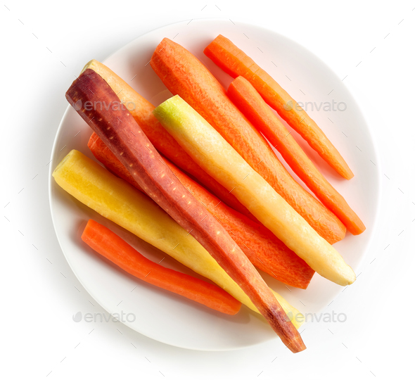 plate of fresh colorful carrots - Stock Photo - Images
