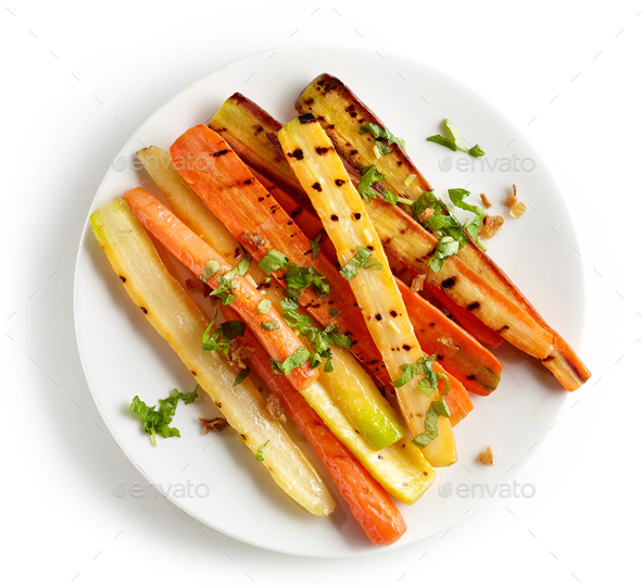 plate of grilled colorful carrots - Stock Photo - Images