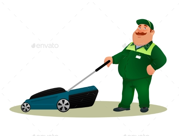 Funny Cartoon Farmer with Lawn Mower. - People Characters