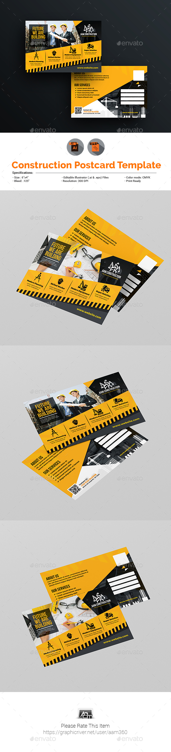 Construction Postcard Template - Cards & Invites Print Templates
