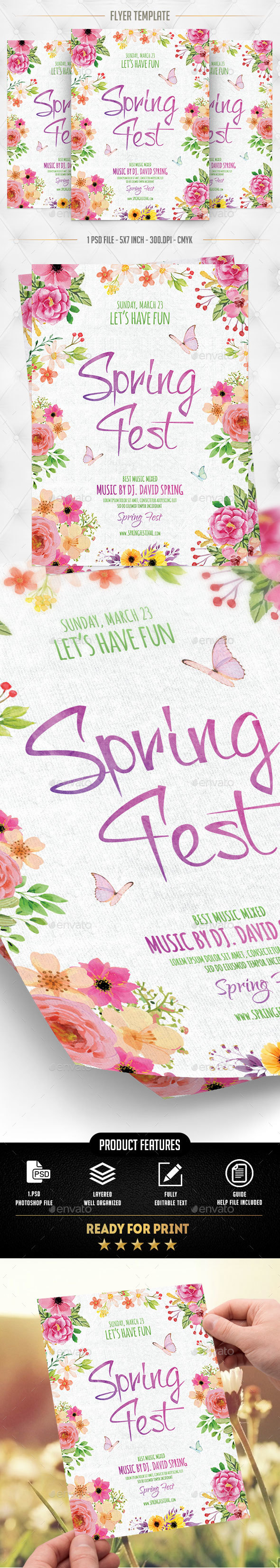 Spring Fest Flyer Template - Flyers Print Templates
