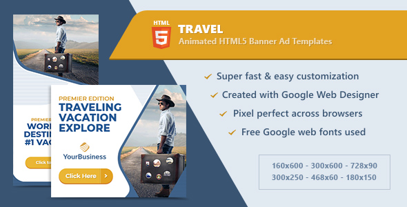 HTML5 Animated Banner Ads - Travel & Tourism (GWD) - CodeCanyon Item for Sale