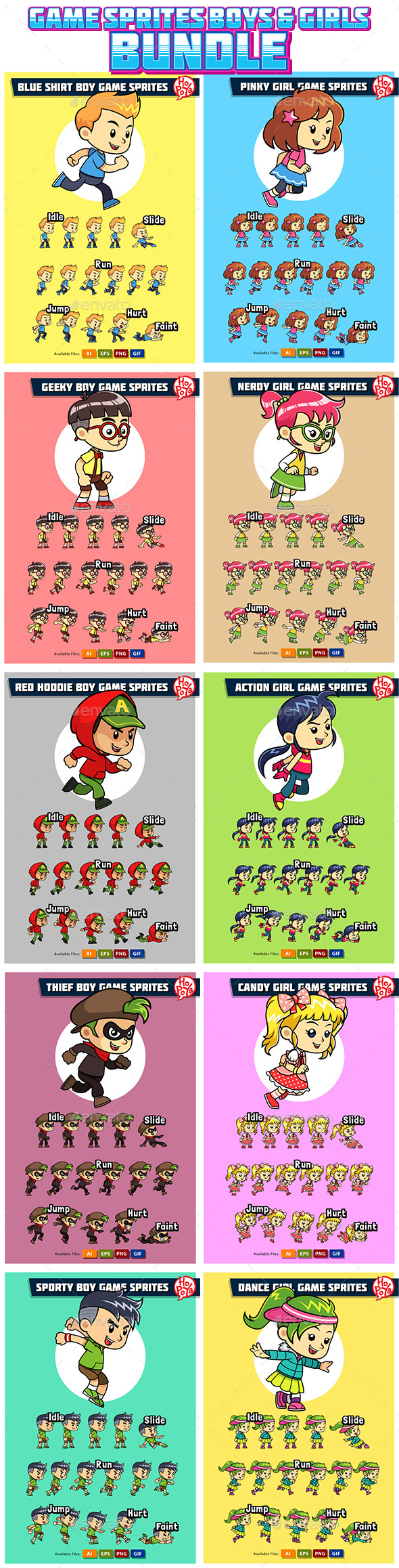 10 Game Sprites Bundle Boys & Girls - Sprites Game Assets