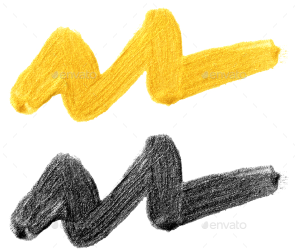 hand drawn stain smear wave in gold colors - Stock Photo - Images