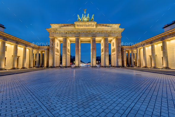 The famous illuminated Brandenburg Gate in Berlin - Stock Photo - Images