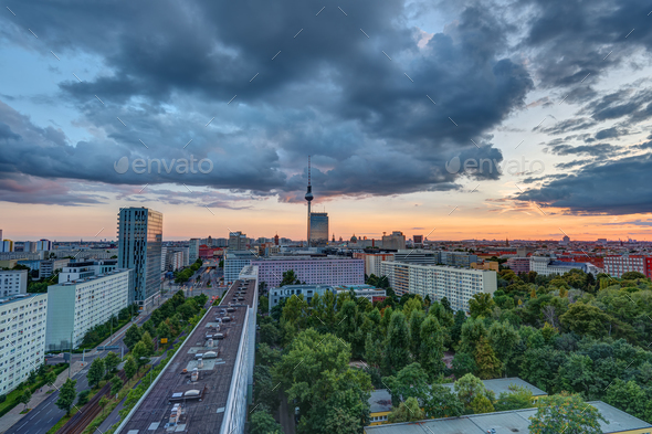 Dramatic sunset in Berlin, Germany - Stock Photo - Images