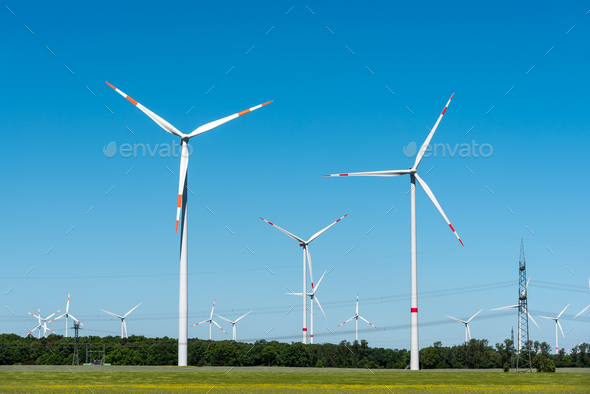 Wind generation seen in Germany - Stock Photo - Images