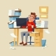 Office Manager Work Routine Vector Illustration