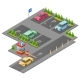 Parking Lot Isometric 3D Vector Illustration